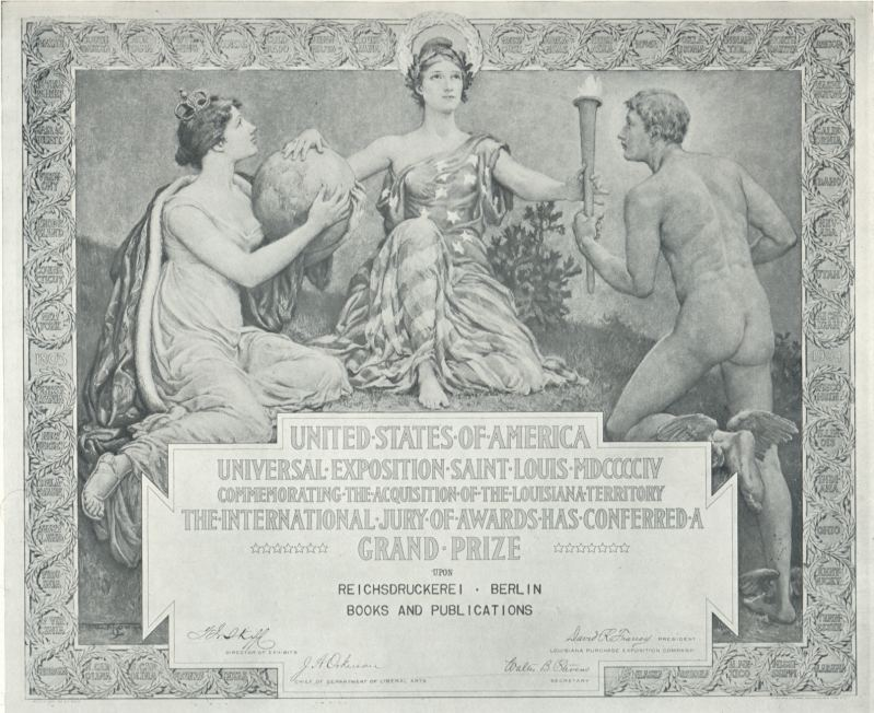 diploma world exhibition 1904 st. louis