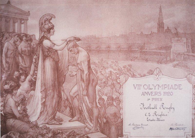 diploma olympic games 1920 antwerp