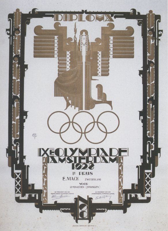 diploma olympic games 1928 amsterdam