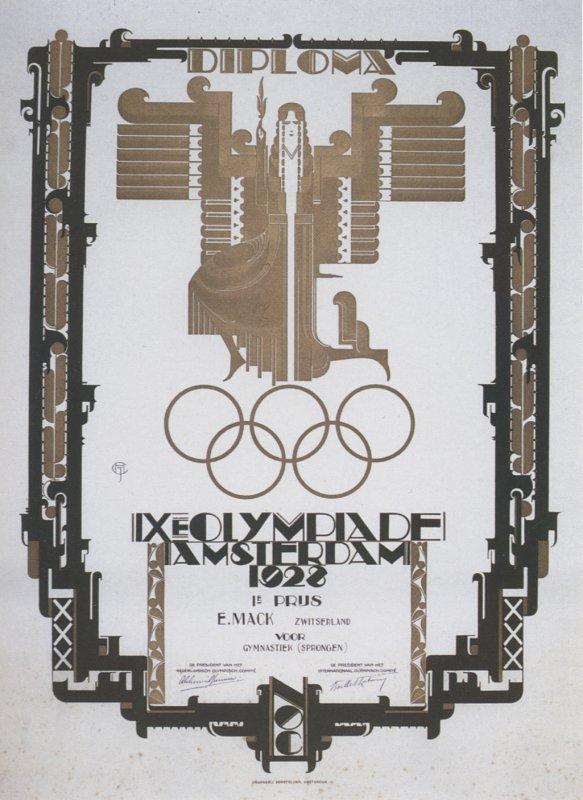 diploma olympic games 1928 amsterdam