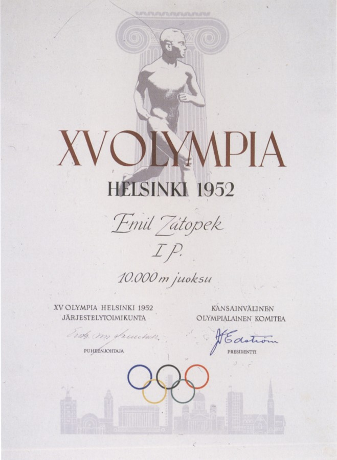 diploma olympic games 1952 helsinki