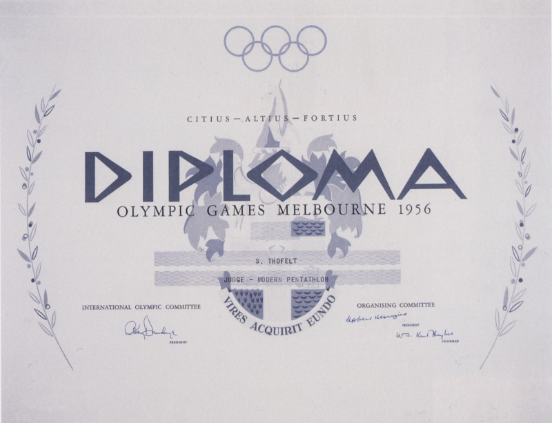 diploma olympic games 1956 melbourne