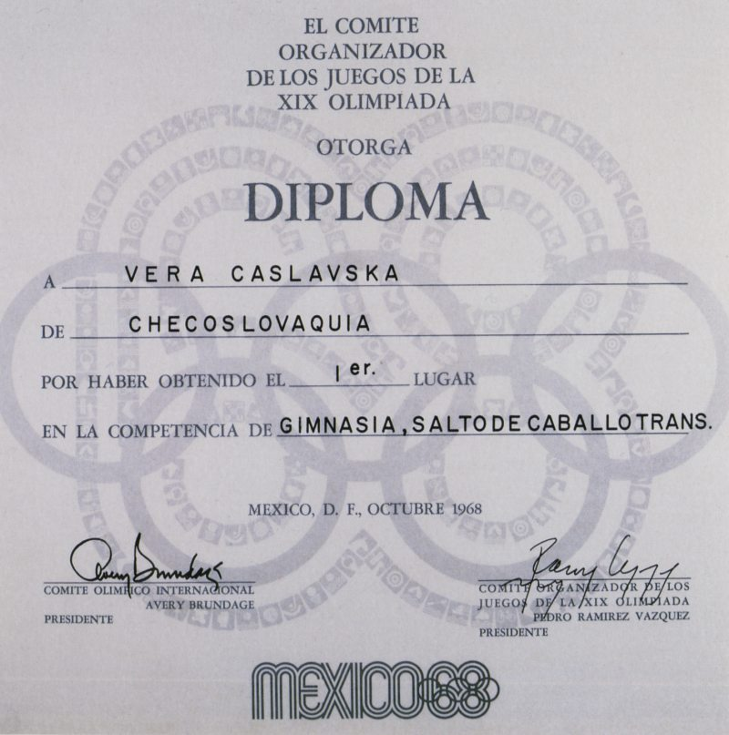 diploma olympic games 1968 mexico city