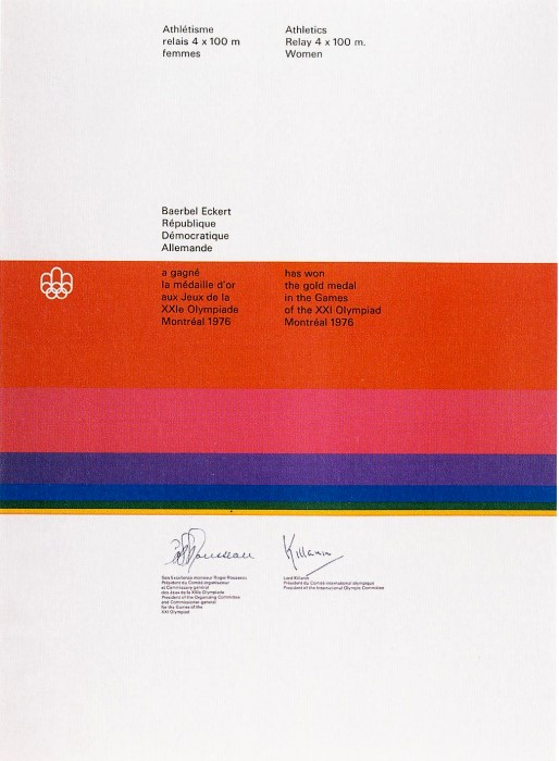 diploma olympic games 1976 Montreal