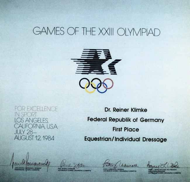 diploma olympic games 1984 los angeles