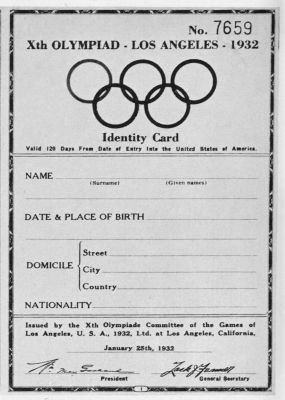 identity card olympic games 1932