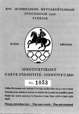 identity card olympic games 1956 stockholm