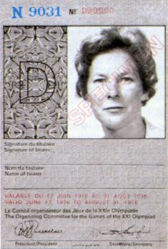 identitycard olympic games 1976 Montreal