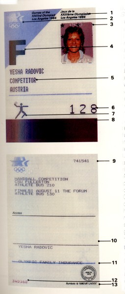 identity card olympic games 1984 los angeles