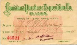 ticket 1904 world exposition st. louis