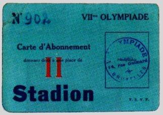 ticket olympic games 1920 antwerp