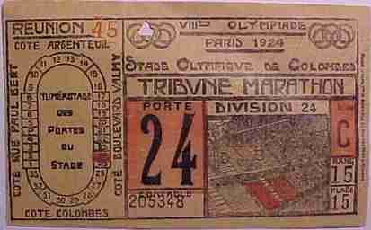 ticket olympic games 1924 paris