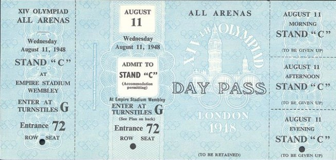 ticket olympic games 1948 london