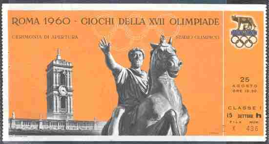 ticket olympic games 1960 rome