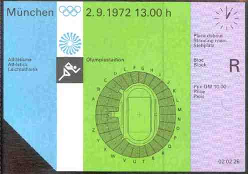 ticket olympic games 1972 munich