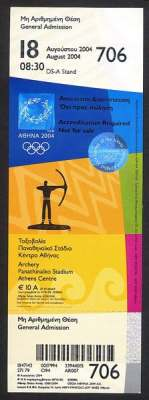 ticket olympic games 2004 athens